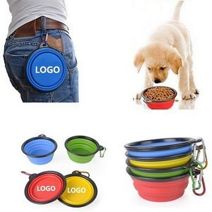Collapsible Silicone Pet Bowl With Carabiner